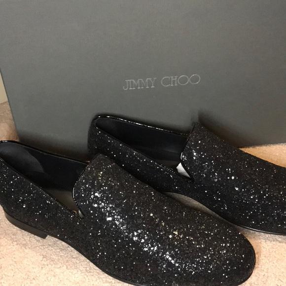 Jimmy Choo Mens Glittered Black Loafer